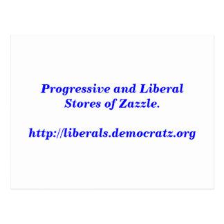 Progressive and Liberal Stores of Zazzle. Postcard