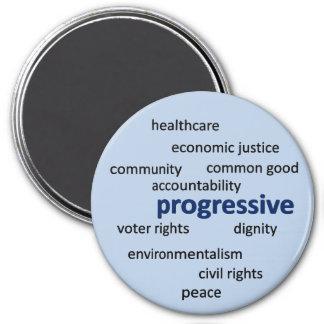 Progressive philosophy and values 7.5 cm round magnet