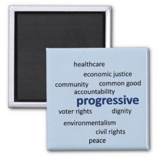 Progressive philosophy and values square magnet