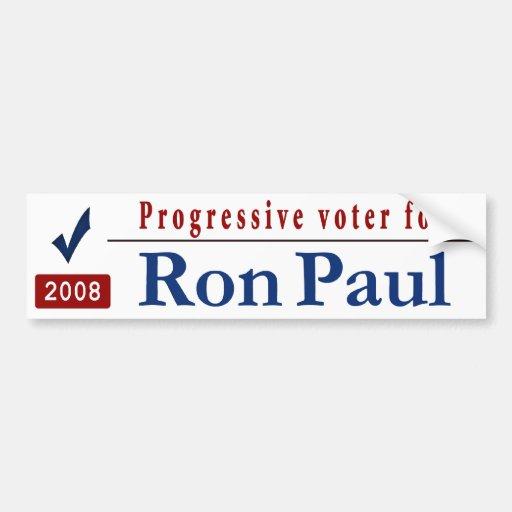 Progressive Voter for Ron Paul Bumper Stickers