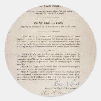 Prohibition 18th Amendment Round Sticker
