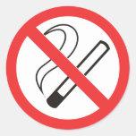 prohibition 6 no smoking classic round sticker