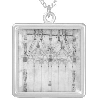 Project for the Cathedral, elevation of the west Silver Plated Necklace