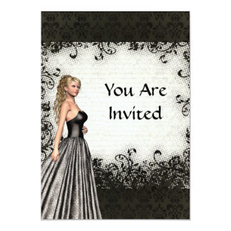 Prom girl in a black dress 13 cm x 18 cm invitation card