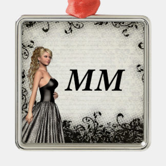 Prom girl in a black dress christmas ornament