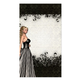 Prom girl in a black dress pack of standard business cards