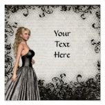 Prom girl in a black dress poster