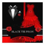 Prom High School Dance Formal Red Black Tie 13 Cm X 13 Cm Square Invitation Card