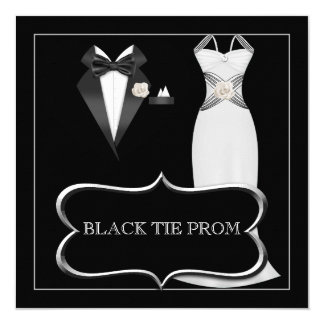 Prom High School Dance Formal White Black Tie Card