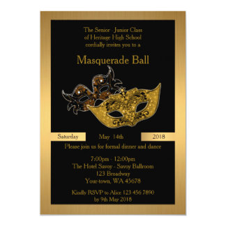 Prom Senior-Junior, black, masquerade ball mask 13 Cm X 18 Cm Invitation Card