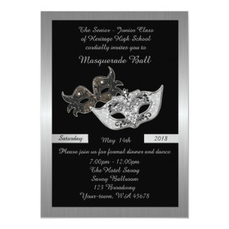 Prom Senior-Junior, black, masquerade mask 13 Cm X 18 Cm Invitation Card