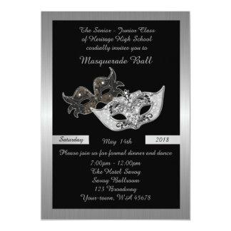 Prom Senior-Junior, black, masquerade mask Card