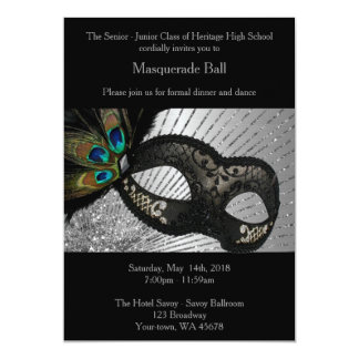 Prom Senior-Junior, black, silver 13 Cm X 18 Cm Invitation Card