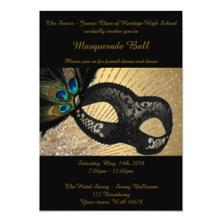 Prom Senior-Junior, masquerade ball, peacock mask 13 Cm X 18 Cm Invitation Card