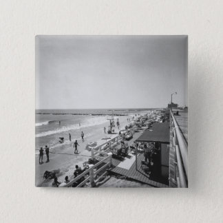 Promenade and beach B&W elevated view 15 Cm Square Badge