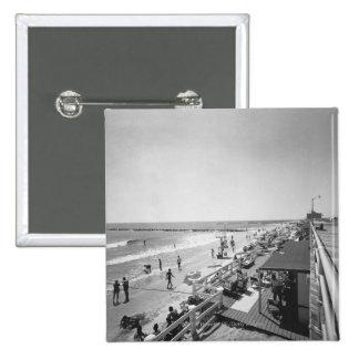 Promenade and beach B&W elevated view 15 Cm Square Badge