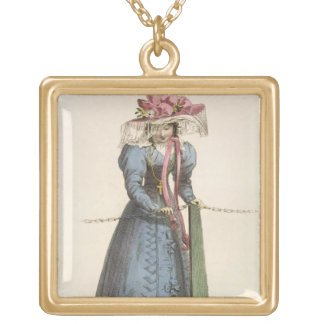 Promenade Dress, fashion plate from Ackermann's Re Gold Plated Necklace