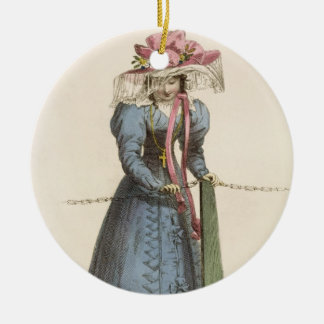 Promenade Dress, fashion plate from Ackermann's Re Round Ceramic Decoration