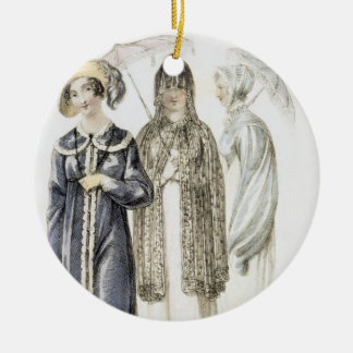Promenade dresses, fashion plate from Ackermann's Round Ceramic Decoration