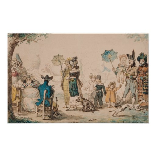 Promenade on the Champs-Elysees, 1811 Print