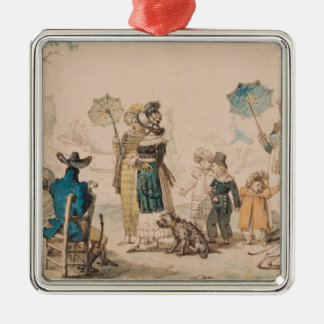 Promenade on the Champs-Elysees, 1811 Silver-Colored Square Decoration