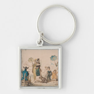 Promenade on the Champs-Elysees, 1811 Silver-Colored Square Key Ring