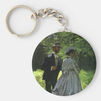 Promenaders by Monet, Vintage Impressionism Art Key Chain
