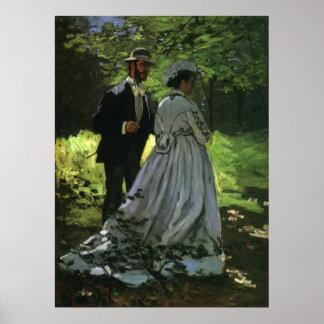 Promenaders by Monet Vintage Impressionism Art Poster