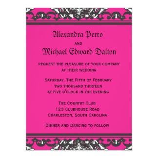 """Prominent Pink Damask with Decorative Frame 6.5"""" X 8.75"""" Invitation Card"""