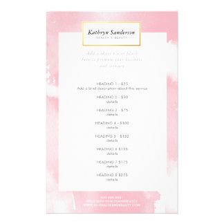 PROMO PRICE SERVICE LIST blush pink watercolor Flyer