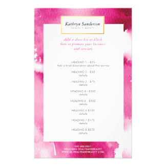 PROMO PRICE SERVICE LIST cool hot pink watercolor Flyer