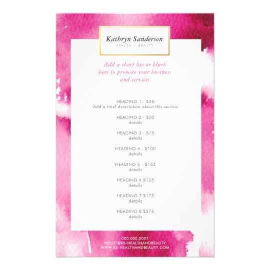 PROMO PRICE SERVICE LIST cool hot pink watercolor