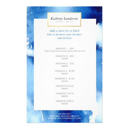 PROMO PRICE SERVICE LIST dark blue watercolor Flyer
