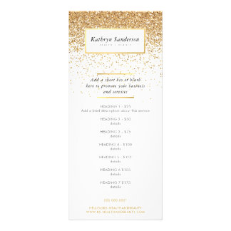 PROMO PRICE SERVICES LIST chic faux gold glitter Rack Card