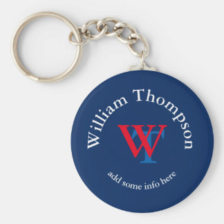 promote yourself | logo | monogram red/blue basic round button key ring
