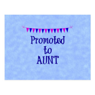 Promoted to Aunt, banner on blue bokeh background Postcard