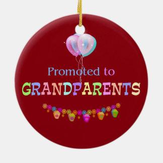 Promoted to Grandparents, celebration Round Ceramic Decoration
