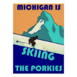 PROMOTIONAL POSTER MICHIGAN IS SKIING THE PORKIES
