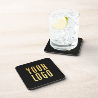 Promotional Your Company or Event Logo Black Drink Coaster