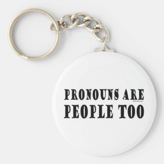 Pronouns Basic Round Button Key Ring