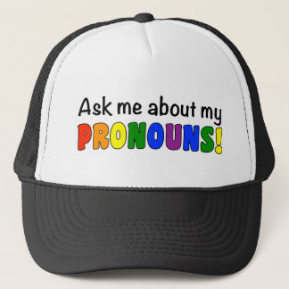 Pronouns Trucker Hat (Rainbow)