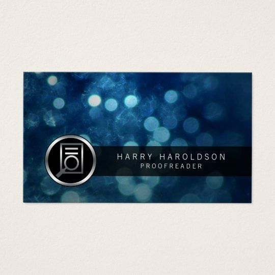 Proofreader Bold Paper Glass Icon Publishing Business Card