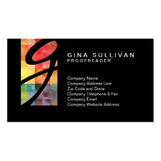 Proofreader Colorful Watercolor Tiles Tab Monogram Business Card