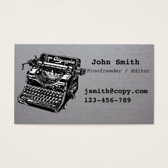 Proofreader / editor typewriter design stylish business card