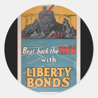 "Propaganda Poster ""Beat Back the Hun"" WWI Round Stickers"
