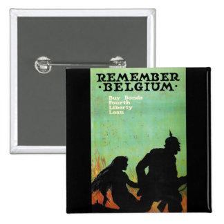 "Propaganda Poster ""Remember Belgium"" WWII 15 Cm Square Badge"