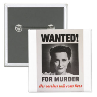 """Propaganda Poster """"Wanted for Murder"""" WWII 15 Cm Square Badge"""