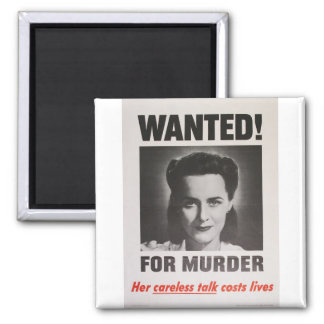 """Propaganda Poster """"Wanted for Murder"""" WWII Square Magnet"""