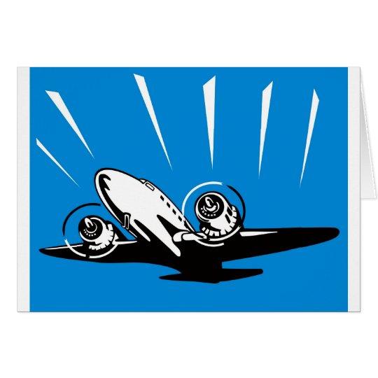 propeller plane aeroplane aircraft flying flight card