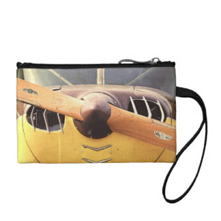 Propeller Yellow Antique Airplane Key Coin Purse